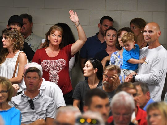 Over 200 people packed the Satellite Beach Civic Center at the Scotty Culp Municipal Complex on Sunday for a meeting concerning cancer data collection and water test results. Several speakers addressed the audience.