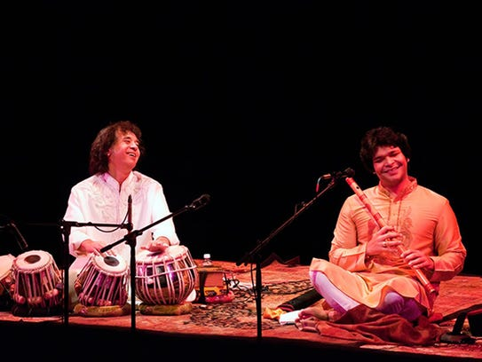 Indian classical musicians Zakir Hussain & Rakesh Chaurasia