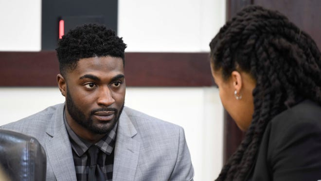 Cory Batey talks with his attorney Courtney Teasley during the opening day of Cory Batey's trial in Judge Monte Watkins' courtroom in the A. A. Birch building April 4, 2016 in Nashville, Tenn.