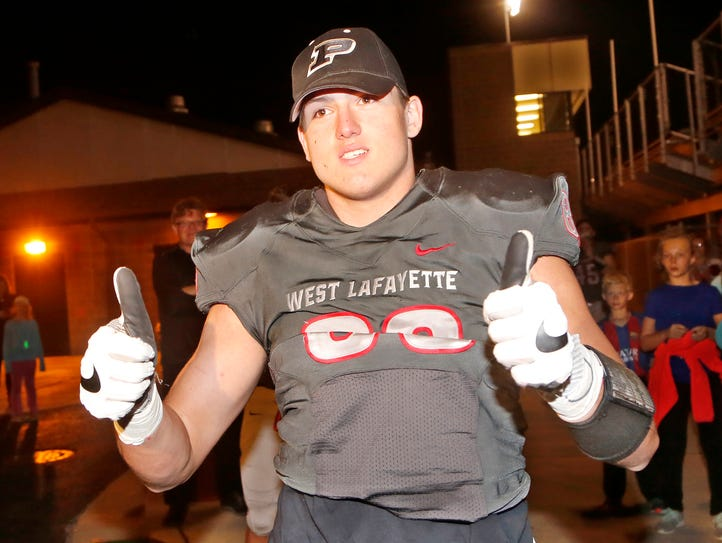 George Karlaftis of West Lafayette flashes the thumbs