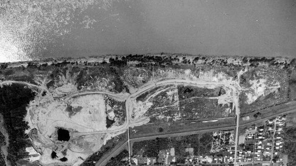 Historic photo of Lees Lane Landfill, where 2 million cubic yards of waste was dumped from the 1940s to 1975, including hazardous waste.