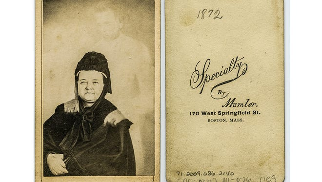 The original photographic print of Mary Todd Lincoln with her deceased husband, President Abraham Lincoln, taken seven years after his assassination, by spirit photographer William H. Mulmer. The photo is part of the Lincoln Financial Foundation Collection housed in the Allen County Public Library.