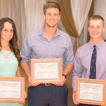 From left, Ashley Newell, Mitch Glasmann and Calum Hill were named the 2015-16 Western New Mexico University Senior Student-Athletes of the Year.