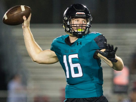 Gulf Coast High School quarterback Kaden Frost prepares