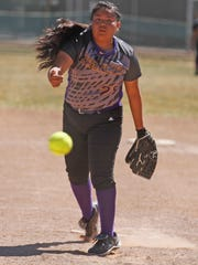 Kirltand Central's Shiloh Lewis pitches against Navajo Prep on March 18, 2016 at the Ricketts Park softball fields in Farmington.