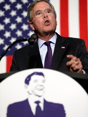 Republican presidential candidate former Florida Gov. Jeb Bush speaks during the Scott County Republican Party's Ronald Reagan Dinner, Tuesday, Oct. 6, 2015, in Davenport, Iowa. (AP Photo/Charlie Neibergall)