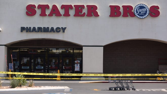 Palm Springs Police evacuated the Stater Bros grocery store on East Vista Chino on Friday afternoon after a man robbed the Chase Bank inside the store and threatened to activate a bomb, police said.