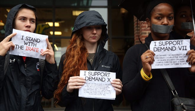 The Irate 8 organizers have a silent protest on the University of Cincinnati campus Wednesday. This is part of a national protest to address racism on college campuses.