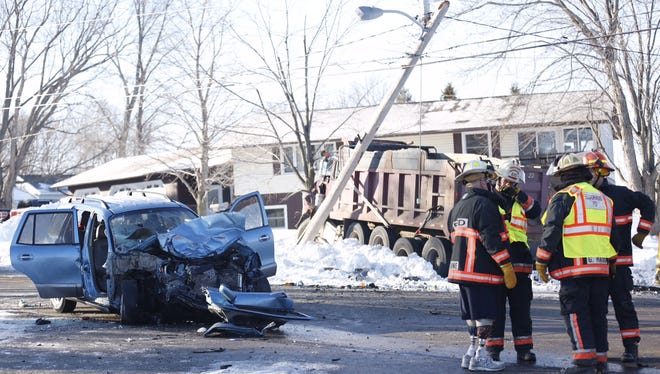An SUV showed heavy front-end damage Tuesday in Eldorado in what appeared to be a head-on collision with a dump truck.