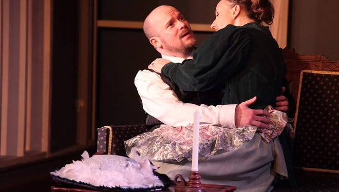 "Matt Dell'Olio as Dr. Givings and Karina Balfour as Catherine Givings in Bootless Stageworks' ""In the Next Room."""