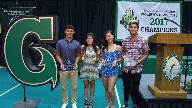 UOG's four MVPs are, from left: Dylan Naputi, soccer, Shaeina Torres, soccer, Jestyne Sablan, volleyball and Ryan Nangauta, basketball. The players were honored at a ceremony Monday at UOG.