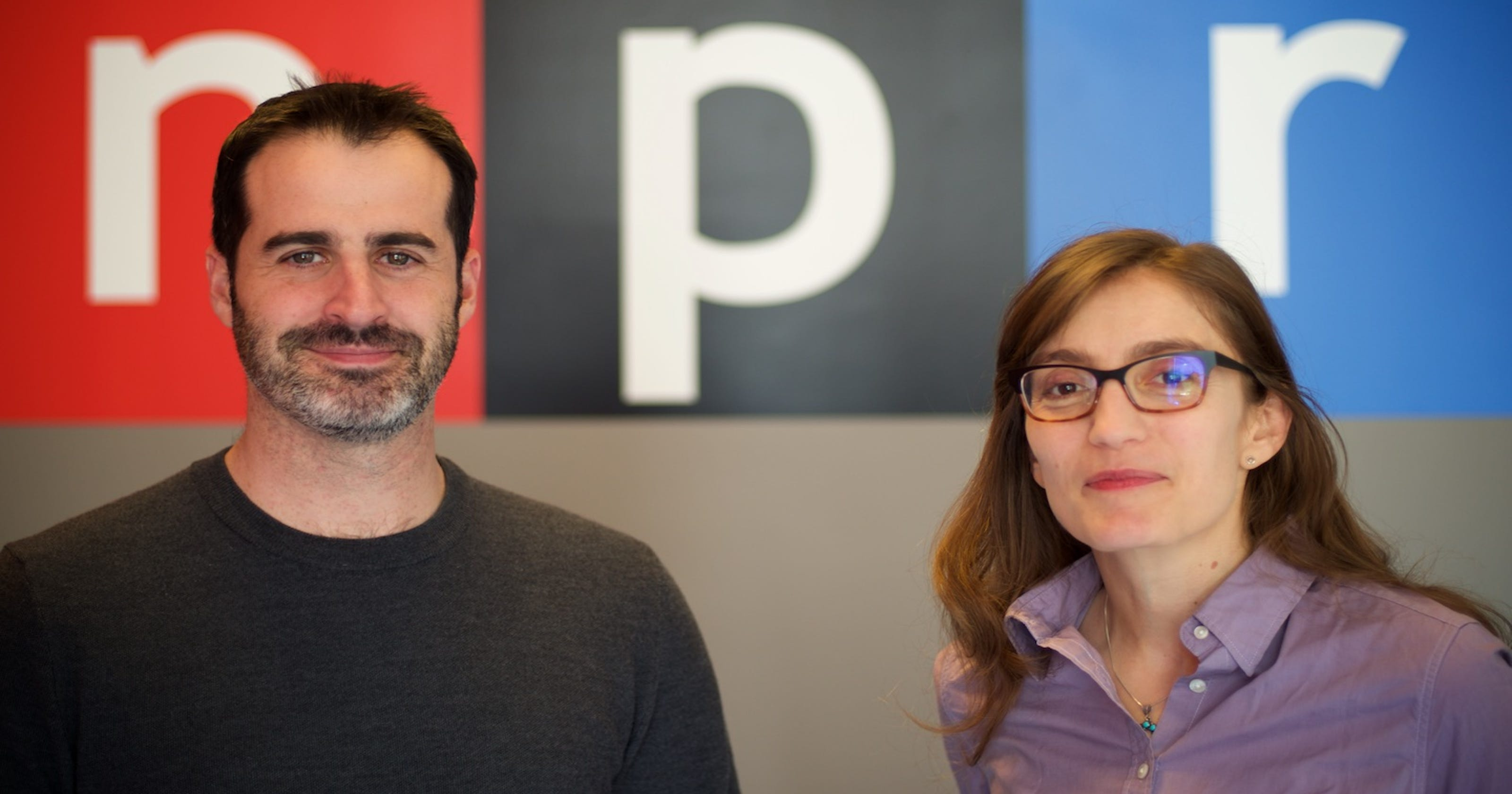 Cardiff Garcia on the left and Stacey Vanek Smith on the right in front of the NPR logo.
