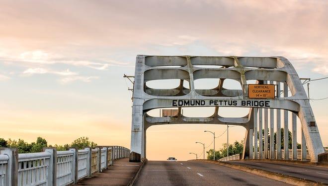 The Edmund Pettus Bridge carries U.S. Route 80 across the Alabama River in Selma, Ala. Built in 1940, it is named for Edmund Winston Pettus, a former Confederate brigadier general and U.S. senator from Alabama.