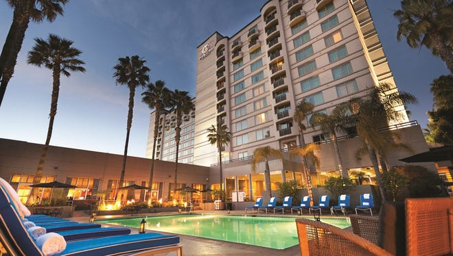 This is the Doubletree by Hilton in Mission Vallery, San Diego. The brand is known for its warm cookies handed out at check-in.