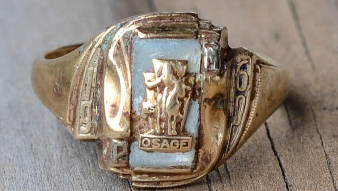 This Osage High School class ring was recently reunited with its owner who lost it while exploring  Smallin Cave in 1960.