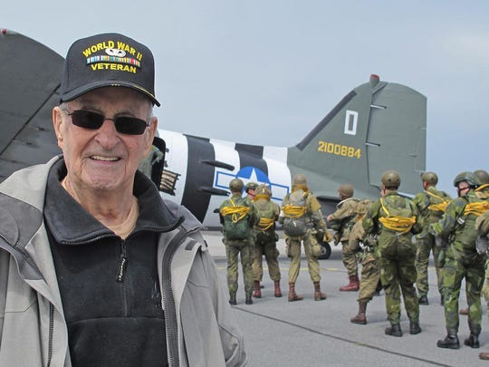 When members of the Round Canopy Parachuting Team heard Ralph Ticcioni was traveling from his New Berlin home to France to participate in D-Day commemorations, they asked if he wanted to ride on a flight and watch parachutists dressed like 82nd and 101st Airborne paratroopers. Ticcioni was part of the D-Day invasion with the 82nd Airborne.