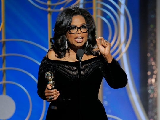 Oprah Winfrey accepts the 2018 Cecil B. DeMille Award during the 75th annual Golden Globe Awards at the Beverly Hilton Hotel on Jan. 7, 2018 in Beverly Hills, Calif.