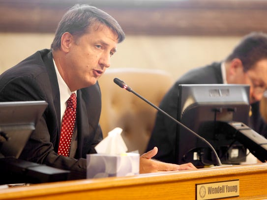 County Commissioner Chris Monzel speaks at special