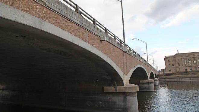 The Grand Avenue bridge in downtown Des Moines.