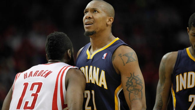 Mar 7, 2014; Houston, TX, USA; Indiana Pacers power forward David West (21) reacts to a play during the second quarter against the Houston Rockets at Toyota Center. Mandatory Credit: Andrew Richardson-USA TODAY Sports