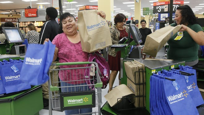 Customers at the checkout of a new Walmart in Los Angeles in September.