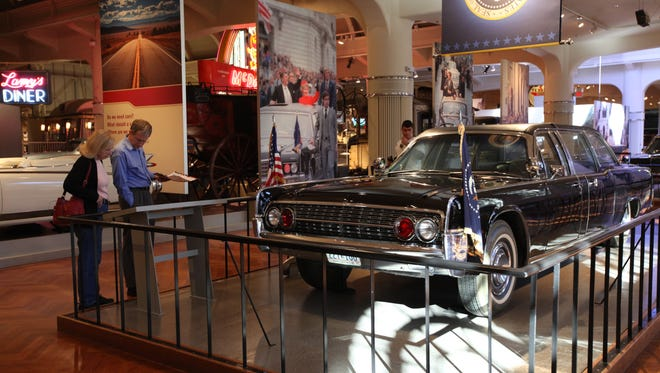 The customized 1961 Lincoln Continental four-door convertible limousine that carried President John F. Kennedy on the day he was assassinated is now on display at the Henry Fort Museum in Dearborn, Mich.