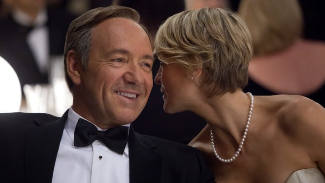 Kevin Spacey as U.S. Congressman Frank Underwood and Robin Wright as Claire Underwood in 'House of Cards.'
