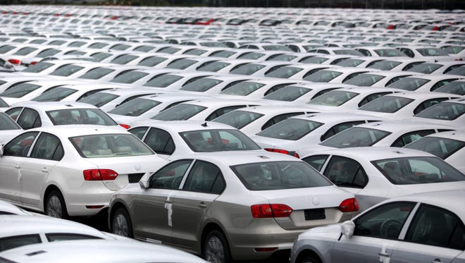 Volkswagen Jettas produced in Mexico for export are parked at the port terminal in the Gulf city of Veracruz, Mexico.