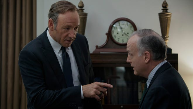 "Kevin Spacey and Reed Birney in a scene from Netflix's ""House of Cards."""