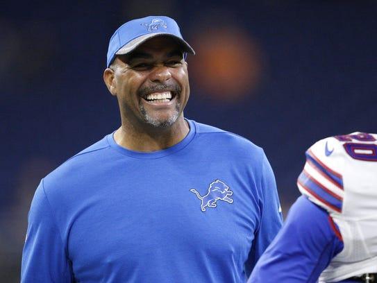 Lions defensive coordinator Teryl Austin smiles before