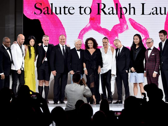 Jeffrey Banks, John Varvatos, Vera Wang, Thom Browne, Michael Kors, Diane Von Furstenberg, Donna Karan, Jason Wu, Alexander Wang and Tommy Hilfiger gather to honor Ralph Lauren with the 2018 CFDA Members Salute award.