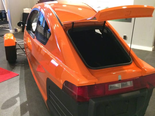 A rear view of Elio Motors' Elio P4, the newest prototype of the three-wheel vehicle the startup company plans to make at the former General Motors assembly plant in west Shreveport.