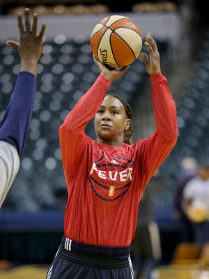 FILE -- Indiana Fever forward Tamika Catchings (24) shoots around during pre game warmups. The Indiana Fever play the Minnesota Lynx in Game #4 of the WNBA Finals Sunday, October 11, 2015, evening at Bankers Life Fieldhouse.