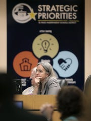 EPISD trustee Susie Byrd sits dejected after making a motion to terminate Superintendent Juan Cabrera for immorality during a meeting Feb. 8. The motion was not voted on after the board approved Cabrera's contract.
