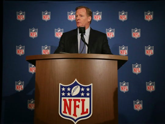 NFL Commissioner Roger Goodell speaks after Wednesday's