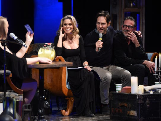 "Actors Hilarie Burton, Paul Rudd, and Jeffrey Dean Morgan answer questions for the audience with the help of Marcy Currier, far left, a tarot card reader, during ""Ghost Stories,"" a fundraiser for Astor Services for Children & Families held at the Richard B. Fisher Center for the Performing Arts at Bard College."