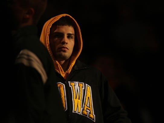 Iowa 133-pounder Tony Ramos is introduced at Carver-Hawkeye