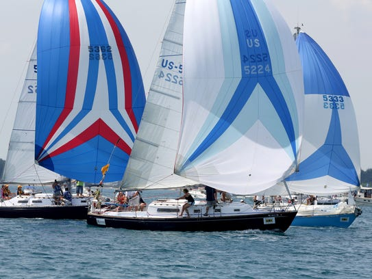 Sailboats compete in the 2014 Bell's Beer Bayview Mackinac