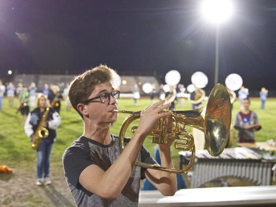 Chris Garrick on the mellophone.
