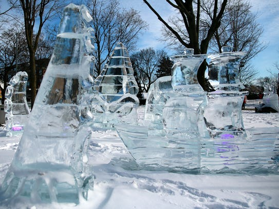 Ice sculptures ranging from artistic to playful will