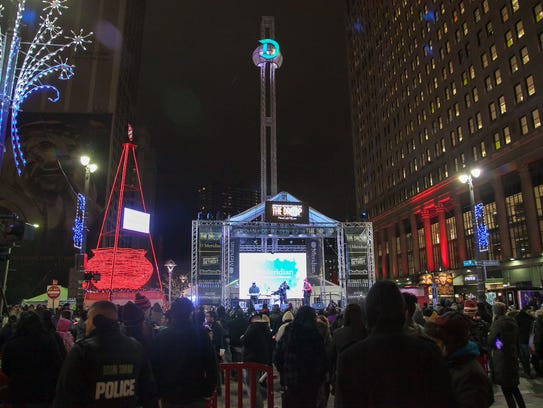 The top of the Motor City New Year's Eve Drop stage