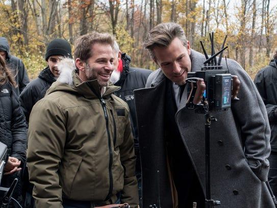(L-r) Director Zack Snyder and Ben Affleck on the set
