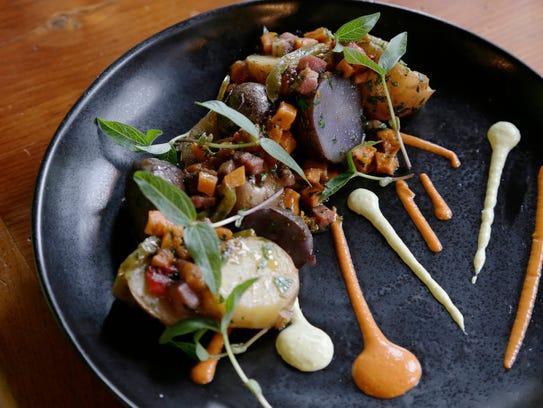 Tantre Farms potatoes with tasso ham, winter squash,