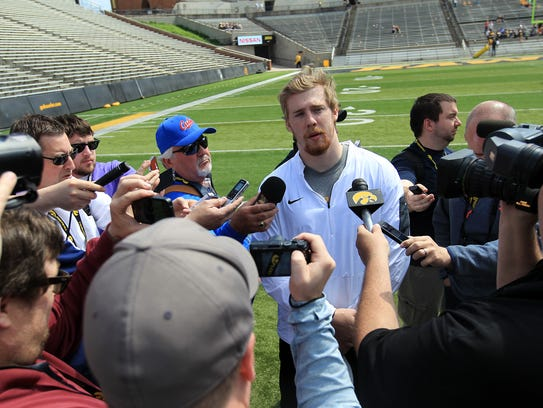 Iowa quarterback C.J. Beathard speaks with media during