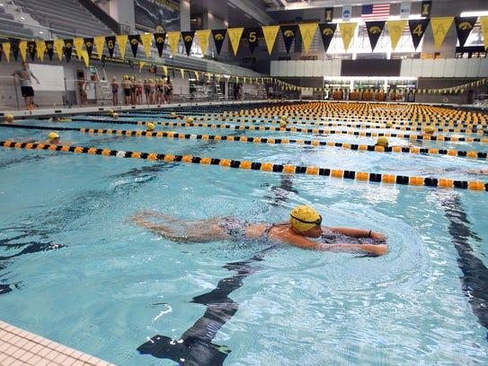 Ashley Frankowiak works on her breaststroke technique