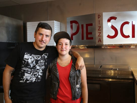 Pie Sci owner Jeremy Damaske, 33, left, and manager