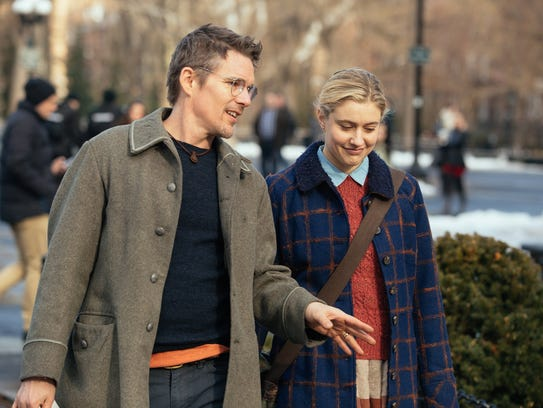 "Ethan Hawke and Greta Gerwig in ""Maggie's Plan,"" which"