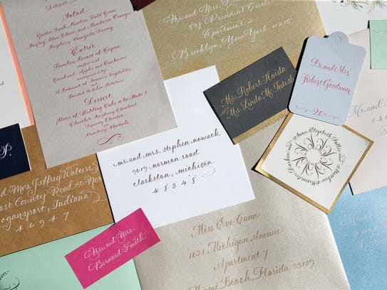 Examples of Vicki Corwin's calligraphy range from Chrismas