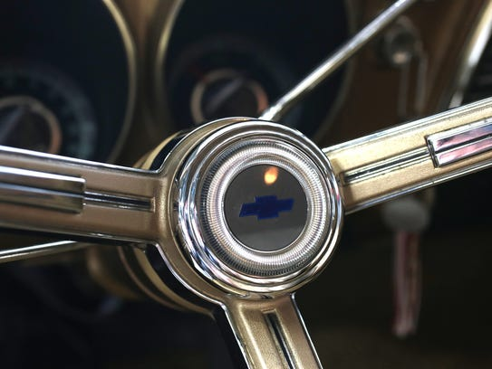 The steering wheel of 1967 Chevrolet Camaro, the first