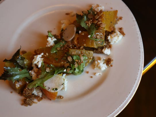 Beet salad ($13) with ricotta, granola, nut butter,